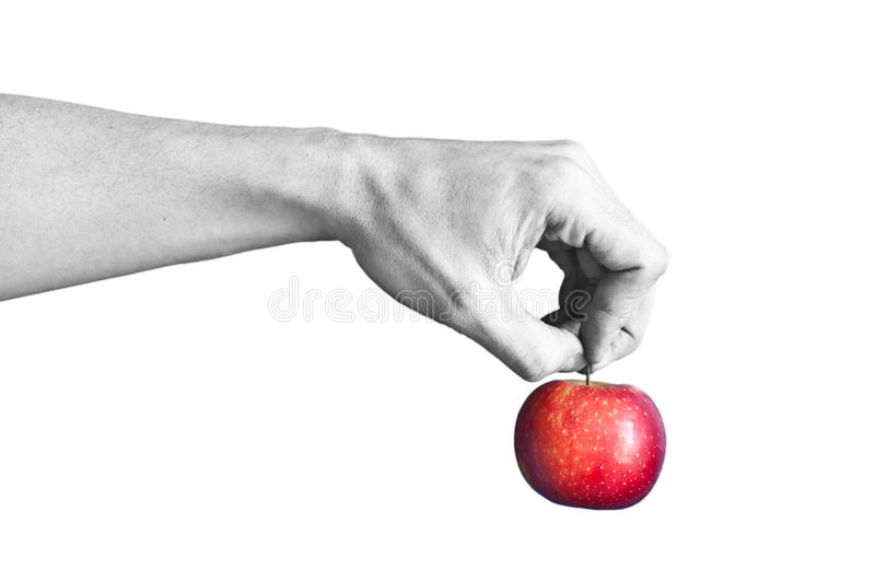 A black and white hand holding a red apple stock photo