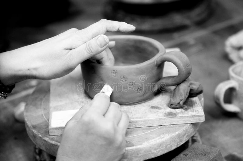 Black And White, Hand, Monochrome Photography, Coffee Cup stock photo