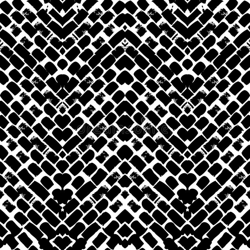Black and white hand painted zig zag pattern vector illustration