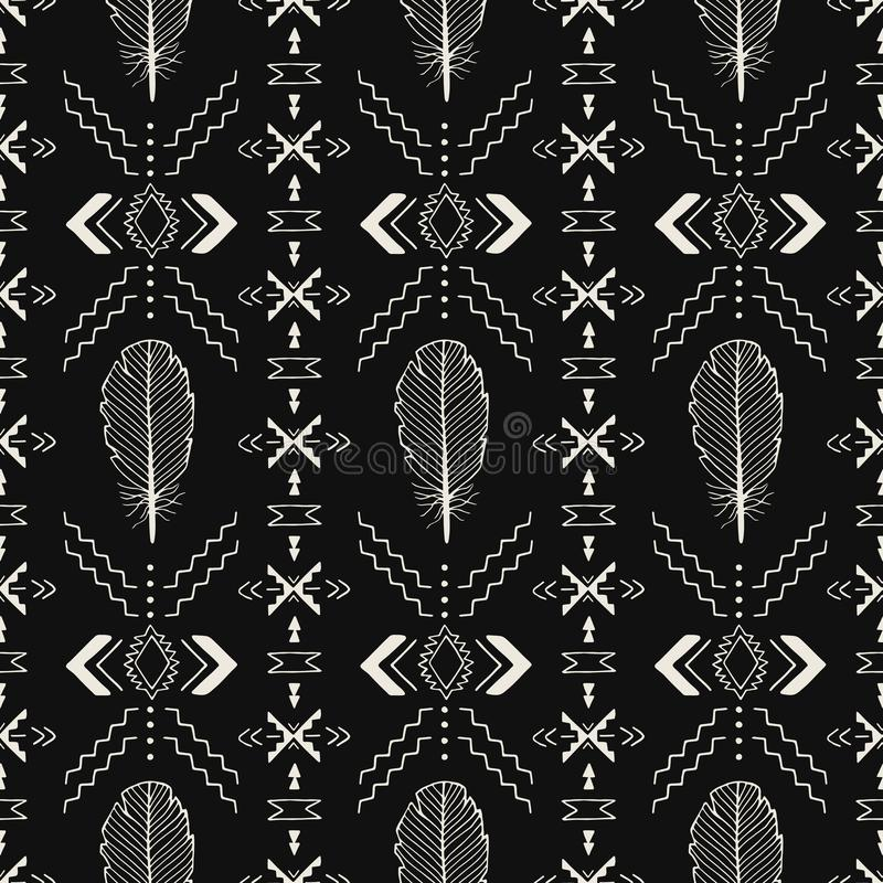 Black and white handmade Aztec, Boho seamless pattern stock illustration