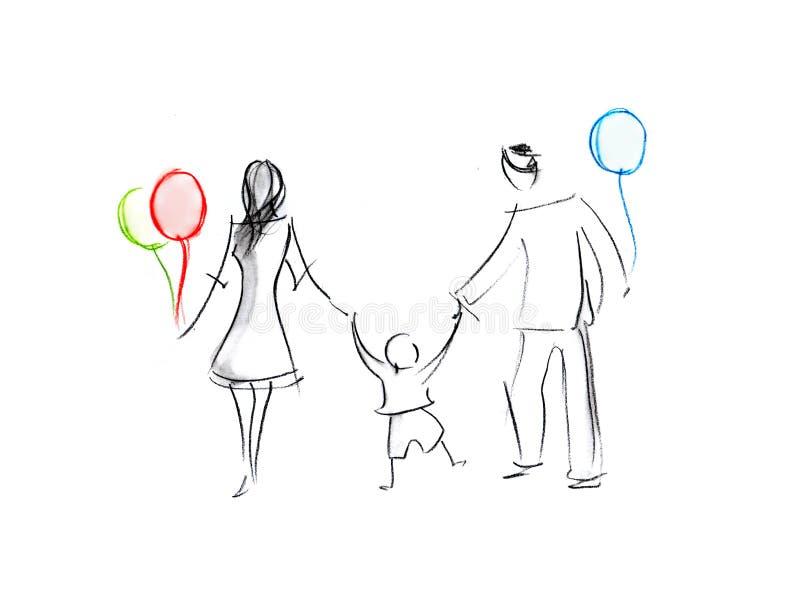 Black&White Happy Family Members Walk. vector illustration