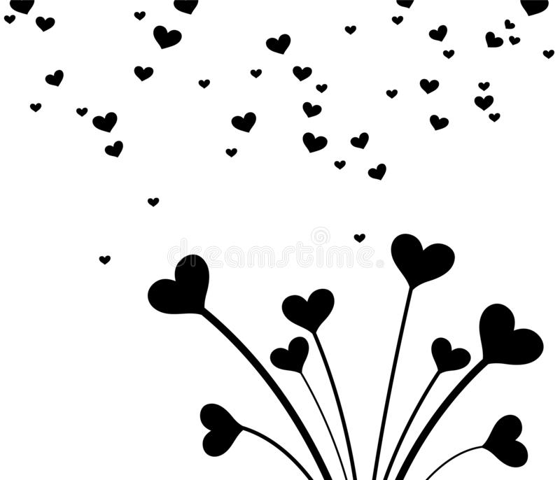 Black and white heart bouquet for Valentines Day. Clean and lovely design for cards. royalty free illustration