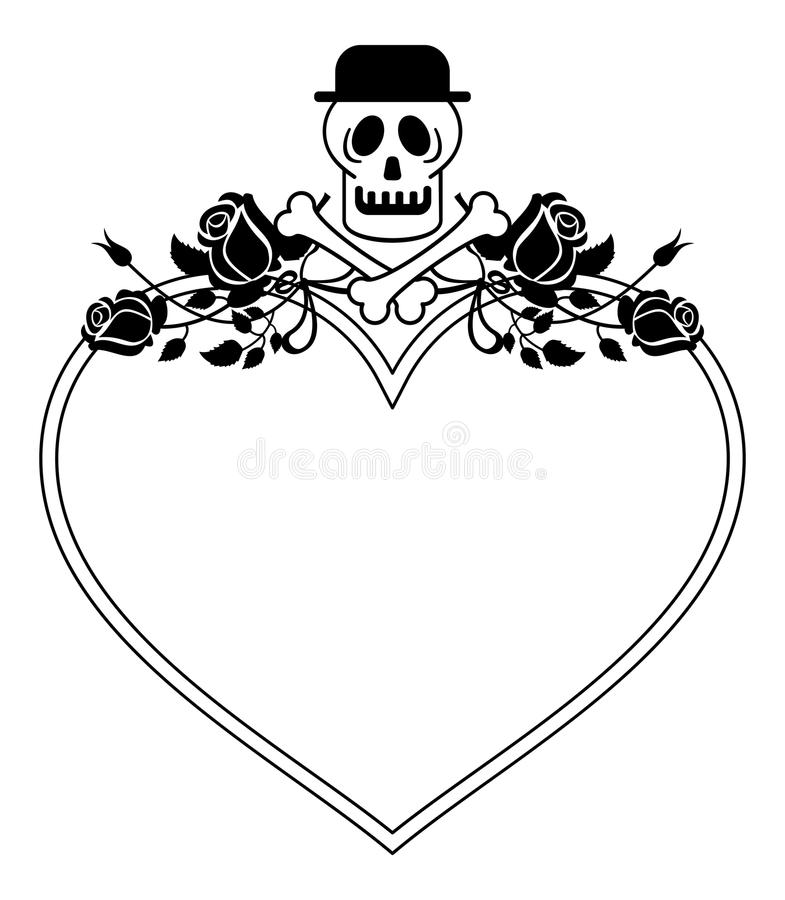 Black And White Heart Shaped Frame With Skull In Hat And Roses ...