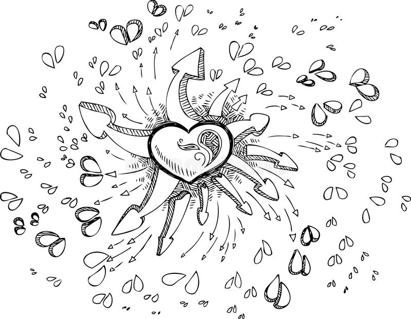 Coloring heart sketched doodle stock photo