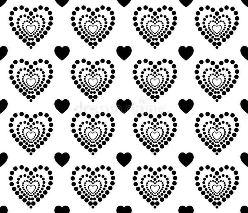 Black and white heart texture for Valentines Day. Clean and lovely background design. royalty free illustration