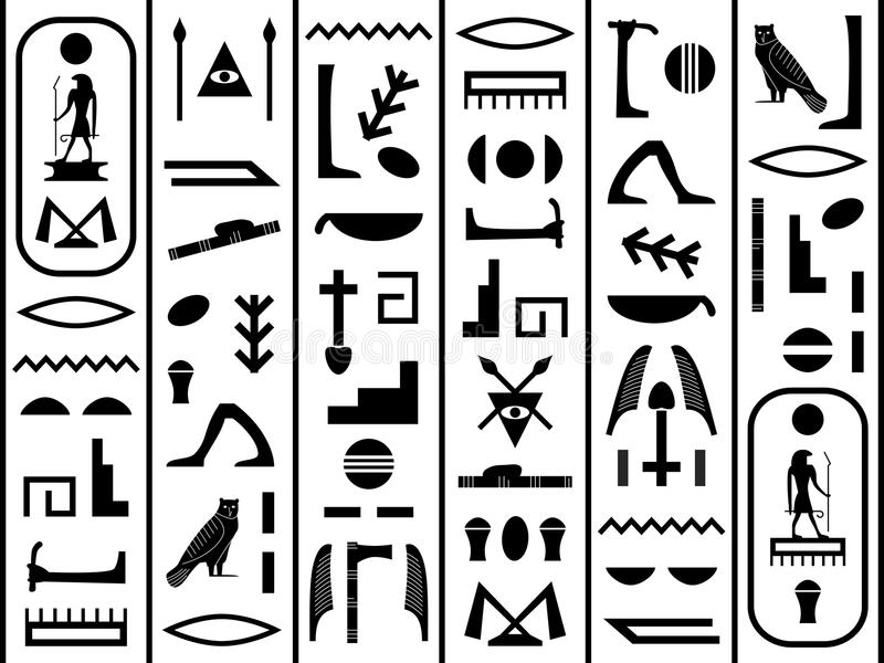 Black and White Hieroglyphics vector illustration
