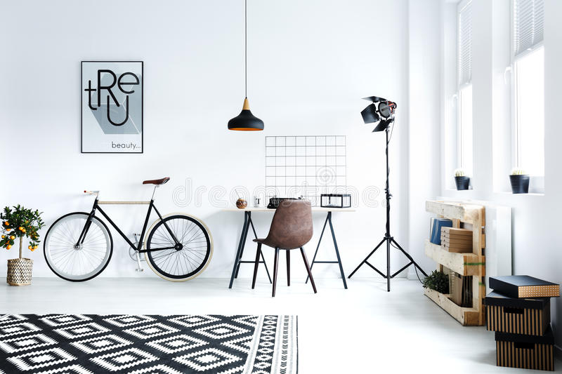 Black and white hipster room royalty free stock images