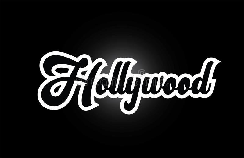 Black and white Hollywood hand written word text for typography logo icon design. Hollywood hand written word text for typography iocn design in black and white royalty free illustration