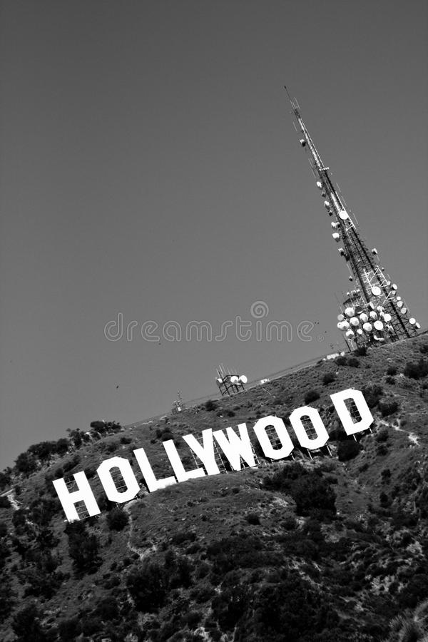 Download Black And White Hollywood Sign Editorial Stock Photo
