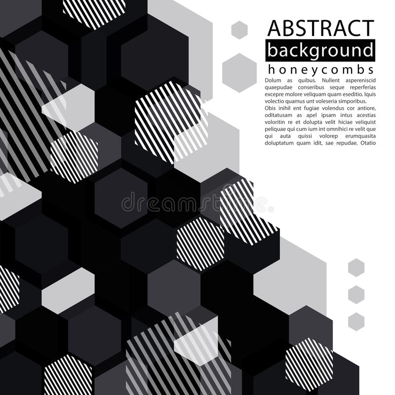 Black and white honeycomb abstract background with caption and t. Ext, decorative geometric monochrome backdrop, transparent vector background royalty free illustration