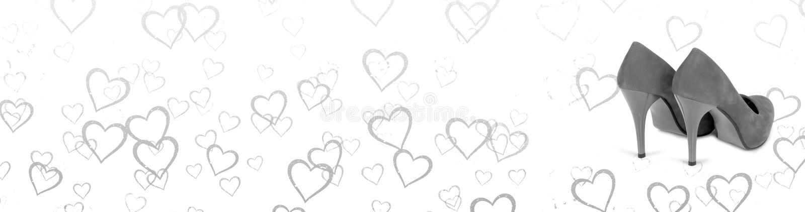 Black and white horizontal banner. Hearts background with a pair of woman shoes stock illustration