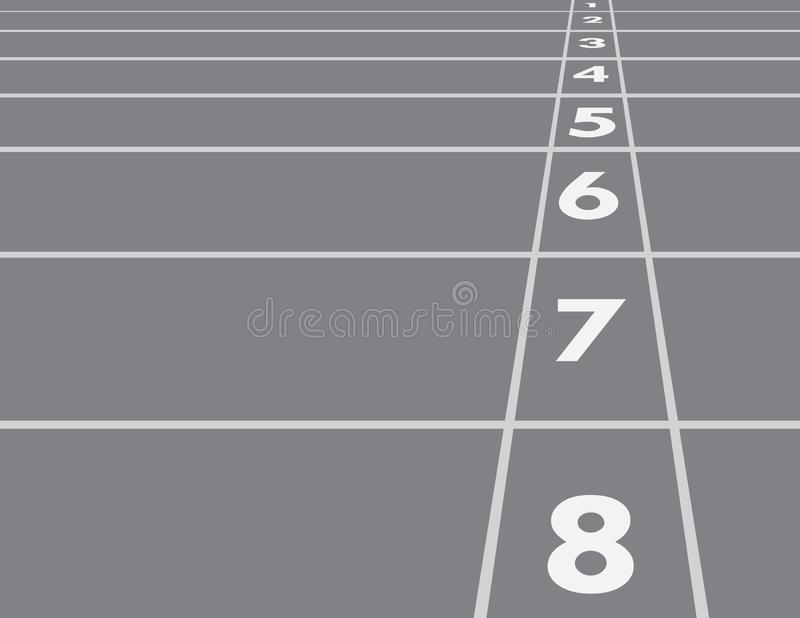 Black and white horizontal racing track lines with numbers in the field for competition in the race from start vector illustration stock illustration