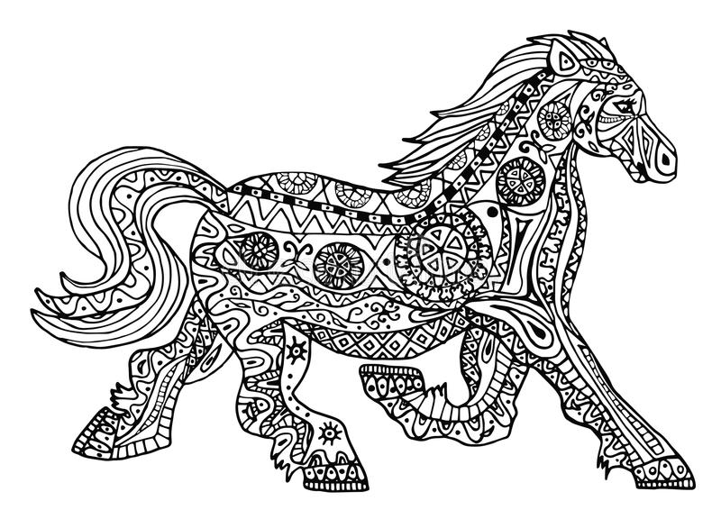 Download The Black And White Horse Print With Ethnic Zentangle Patterns Stock Illustration