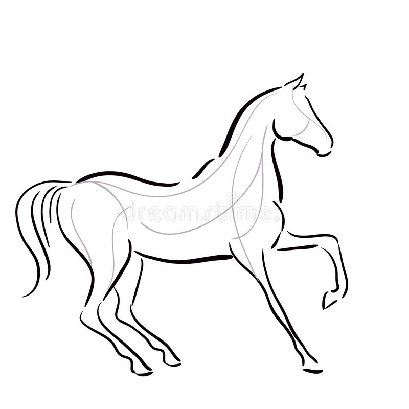 Black and white horse`s silhouette vector illustration