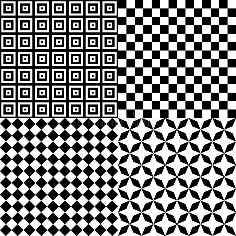 Black and White Hypnotic Psychedelic Background Collection Set Pattern. Vector Illustration royalty free illustration