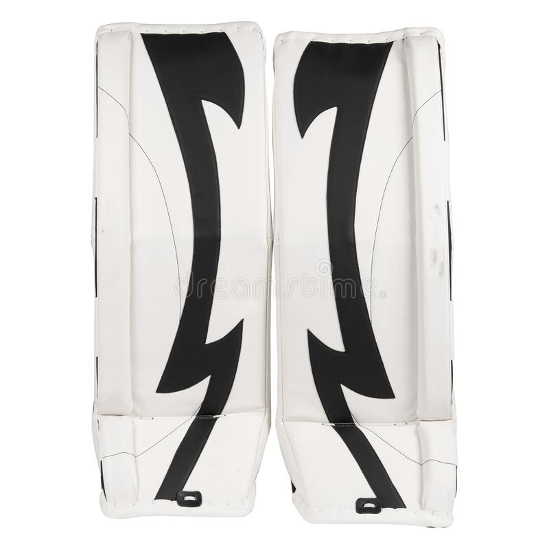 Black and white ice hockey goalie leg pads isolated on white background royalty free stock images