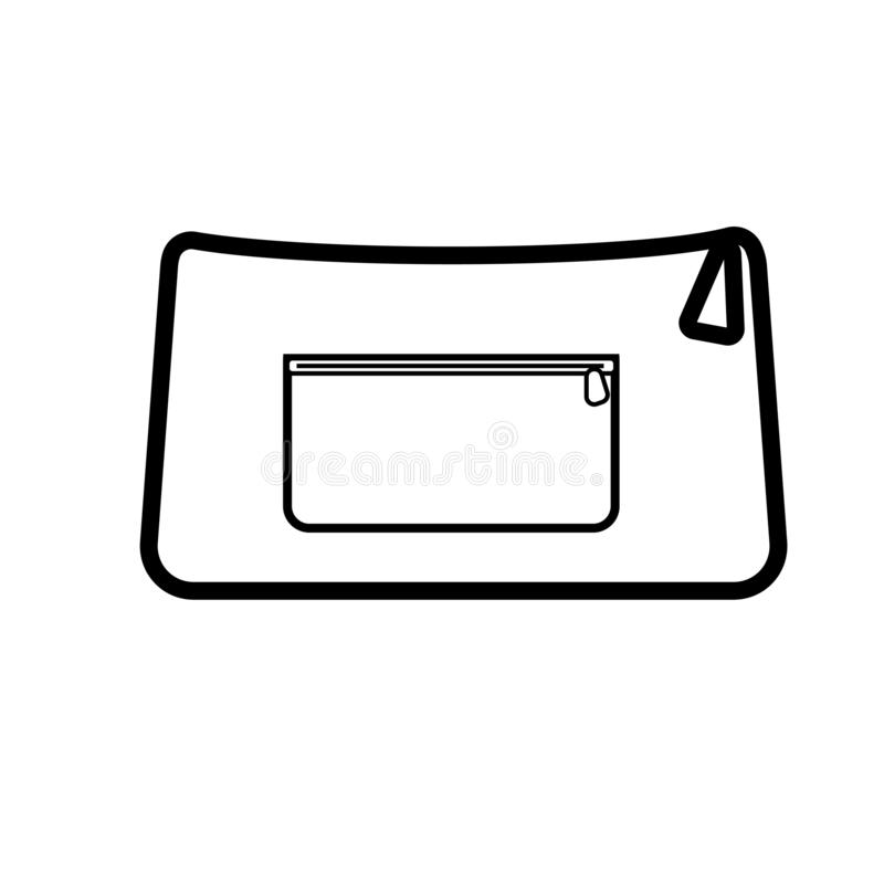 Black and white icon simple linear fashionable glamorous women`s beautiful handbags, cosmetic bags, clutch bags for storing things stock illustration