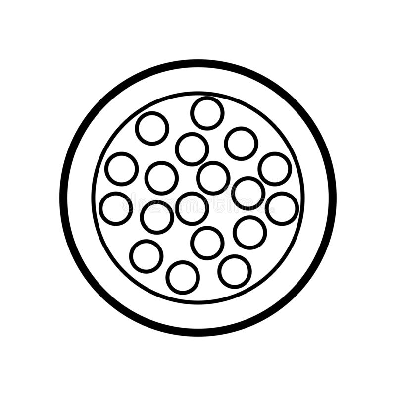 Black and white icon is a simple linear glamorous little round powder box with eyeshadow and eyelid balls for applying vector illustration