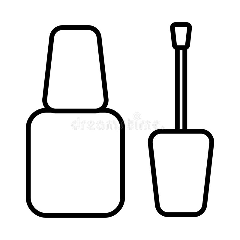 Black and white icon is a simple linear manicure of one of glamorous beautiful beauty nail polish, a cosmetic product intended vector illustration