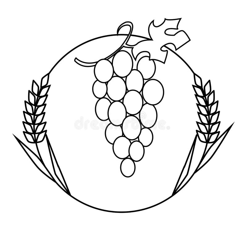 Black and white icon of wheat and grapes royalty free illustration