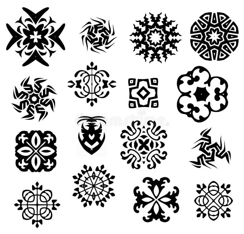 Black and White Icons Patterns vector illustration