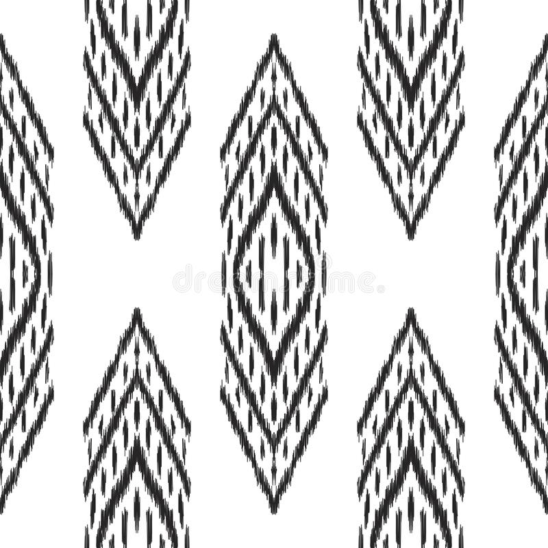 Black and white Ikat seamless pattern. royalty free illustration