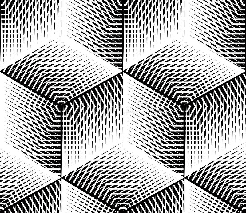 Black And White Illusive Abstract Geometric Seamless 3d
