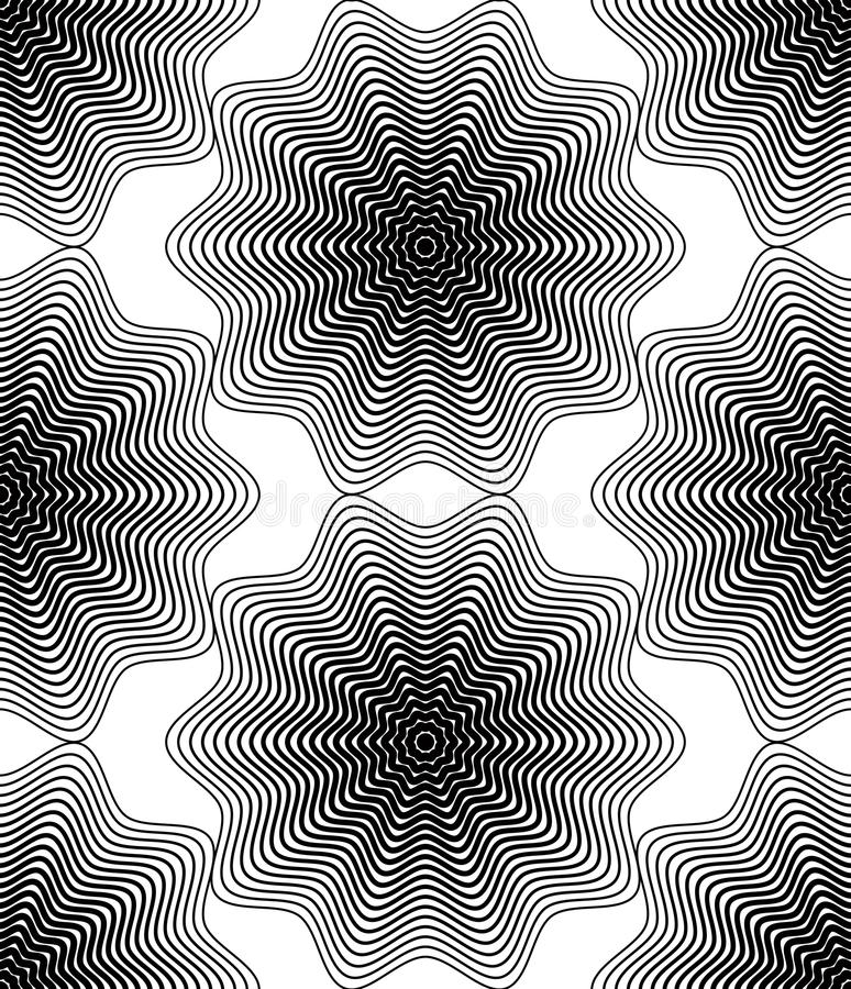Black and white illusive abstract seamless pattern with geometric figures. Vector symmetric simple backdrop. stock illustration