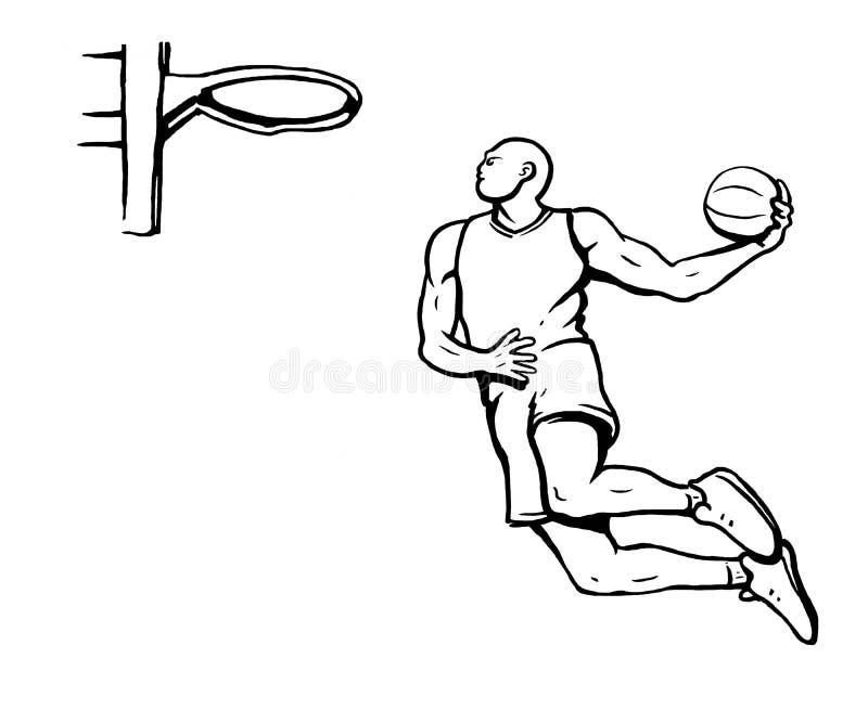 Black and white illustration of basketball player stock illustration