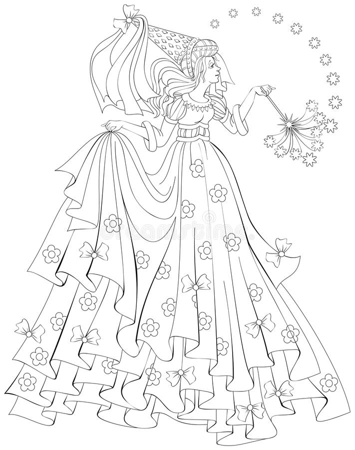 black and white illustration of beautiful fairy holding magic wand for coloring worksheet for. Black Bedroom Furniture Sets. Home Design Ideas