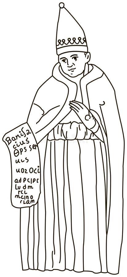 Black and white illustration of a Catholic pope Boniface VIII. royalty free stock photo