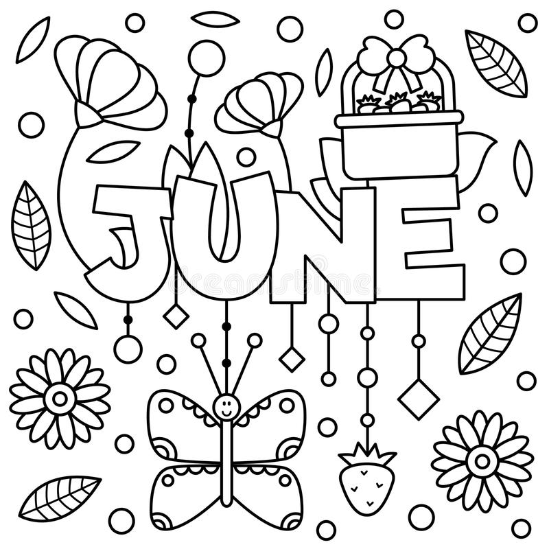 Black and white illustration. Coloring page. Black and white vector illustration. Coloring page. June stock illustration