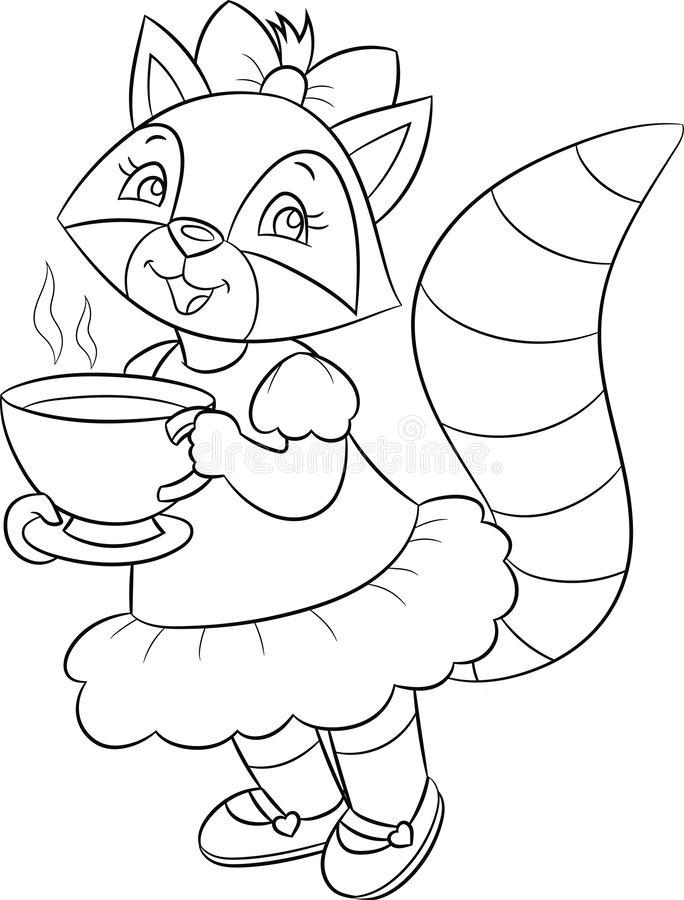 Black and white illustration of a cute little girl raccoon, beautifully dressed, drinking tea, for children`s coloring book stock illustration