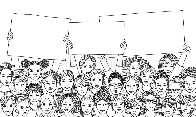 Diverse group of women holding empty signs royalty free illustration