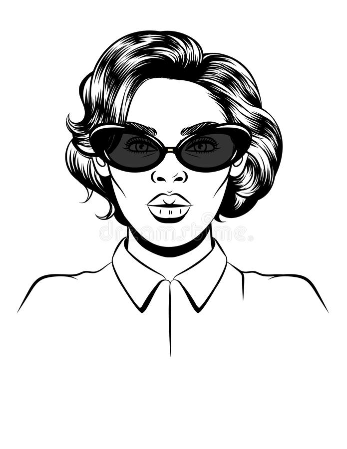 Black white illustration of a female portrait on white background. Glamorous woman in sunglasses. Female silhouette. Female royalty free illustration