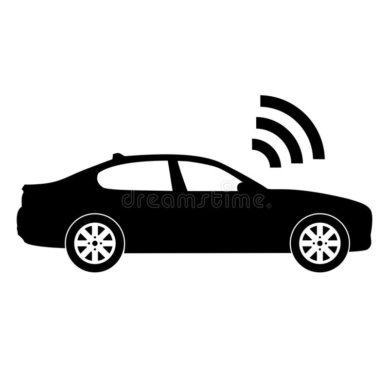 Black and white illustration/icon of a self-driving car. Isolated on white stock illustration
