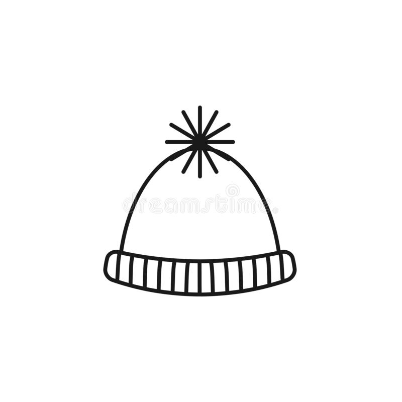 Black & white illustration of knitted warm pompom hat . Vector line icon of winter handmade clothes. Isolated object stock illustration