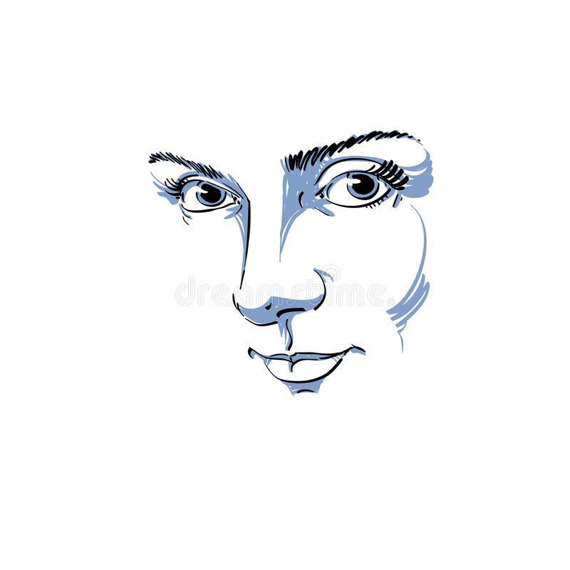 Black and white illustration of lady face, delicate visage features. Eyes and lips of delicate romantic woman expressing positive vector illustration