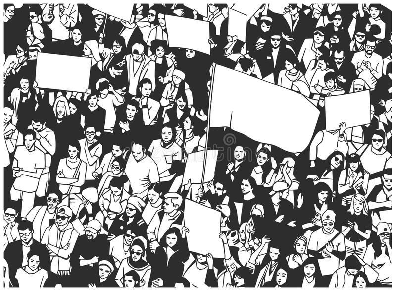 Illustration of large protesting crowd with sings banners and flag. Black and white illustration of large mass of people demonstrating from high angle view with royalty free illustration