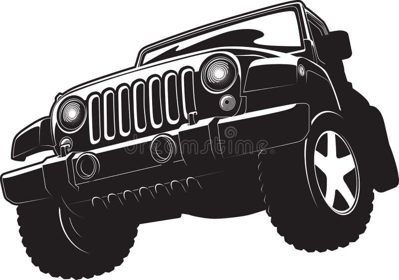 Black and white illustration of offroadster. stock illustration