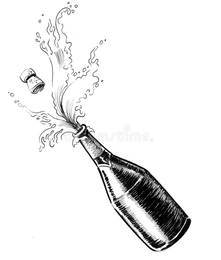 Opening the champagne stock illustration