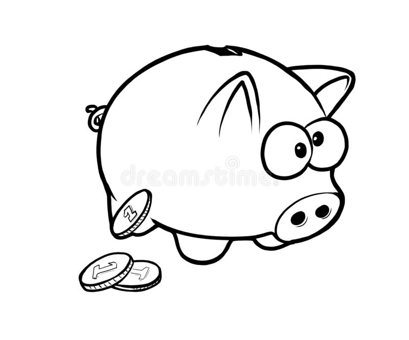Black and white funny saving piggy with coins stock photography