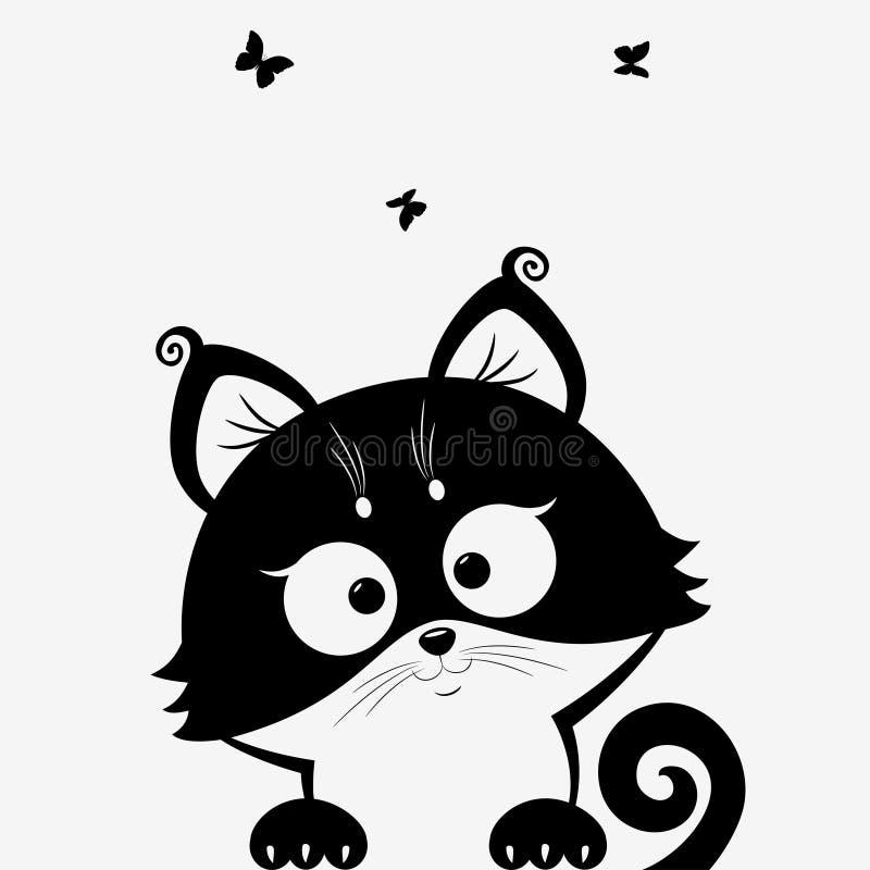 Kitten black vector illustration