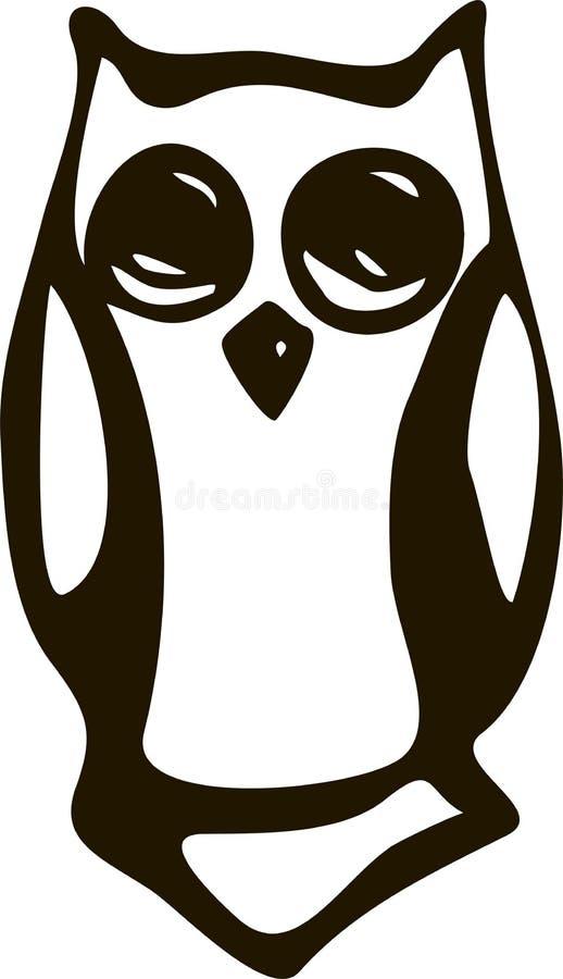 Black and white illustration vintage owl fairy tale royalty free illustration