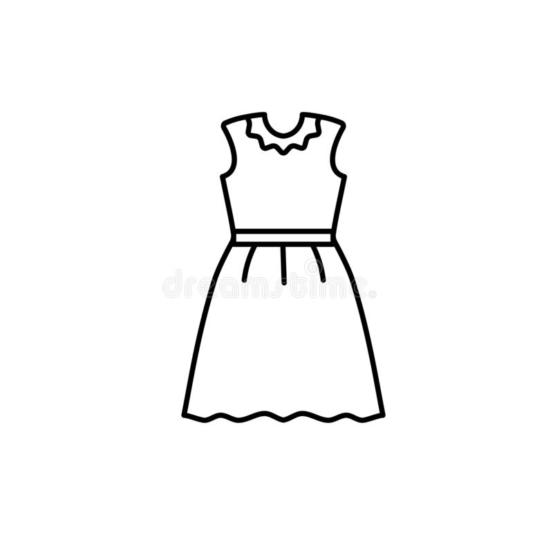 Black & white illustration of woman casual summer dress. Vector line icon of female clothing. Isolated object vector illustration