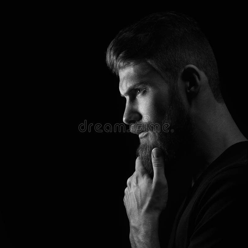 Brutal bearded man portrait stock image