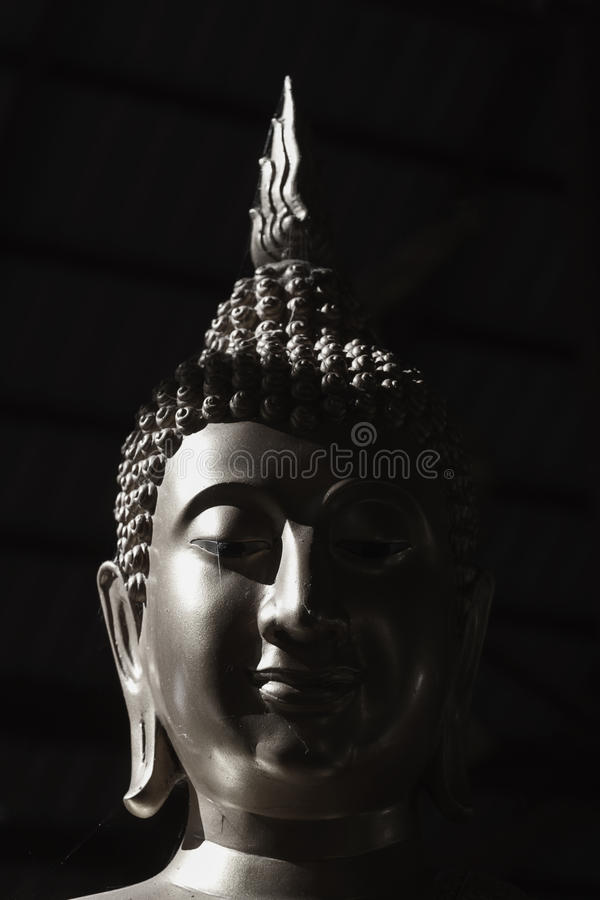 Black and white image Buddha statue stock photo