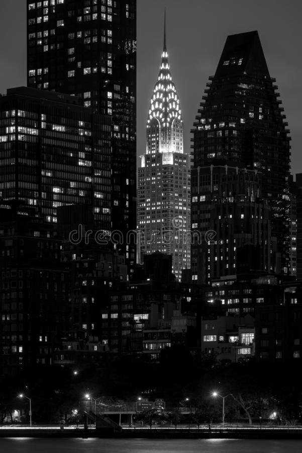 Black & white image of the Chrysler Building, in Manhattan, New York City royalty free stock photos