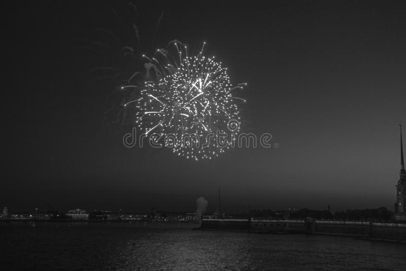 Black and white image of salute over the river stock image