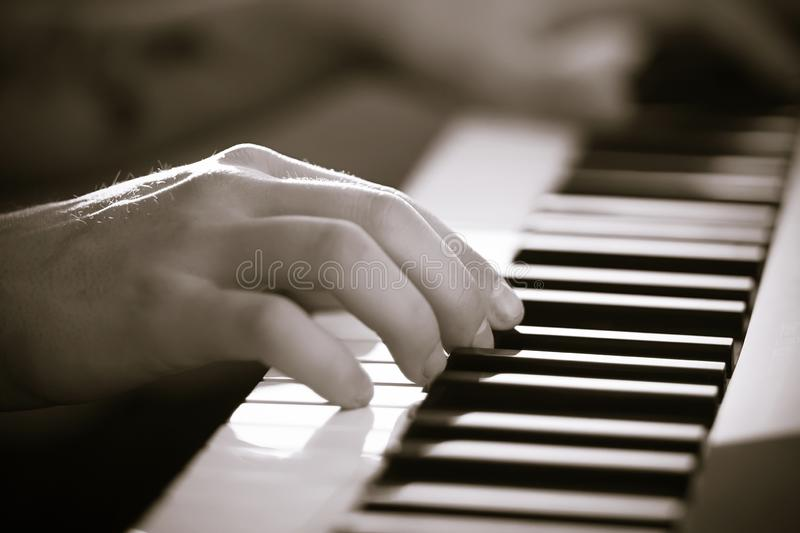 Black and white image of the hands of a musician who plays on the synthesizer royalty free stock photo